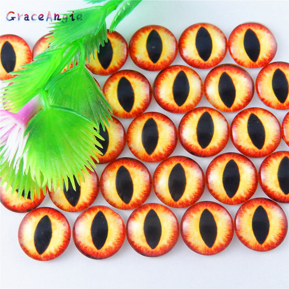 6MM GraceAngie 100PCS 6MM-15MM Black Color Animal Doll Eyes Round Flatback Scrapbooking Dome Cabochons for Cameo Pendant Settings