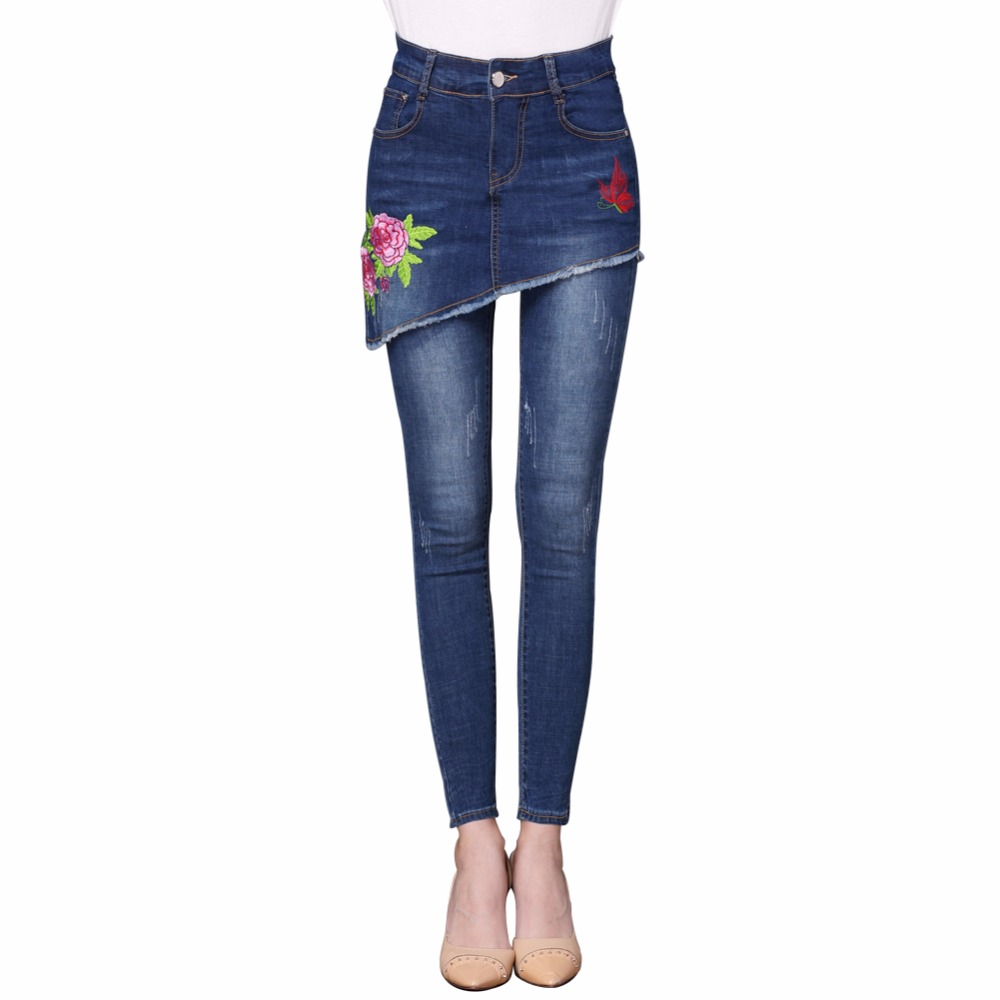 2017 Woman Classic Vintage Embroidery JEANS Womens Skinny False Two Piece Cool Denim Jeans For Girl High Waist Pencil Pants 2017 woman classic vintage jeans womens loose casual fringed false two piece cool denim jeans girl for women high waist pants