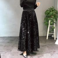 Fashion Long Skirt Women 2018 Spring Autumn New Design Sequins Elastic High Waist Velvet Skirt Girls Student Big Pendulum Skirts