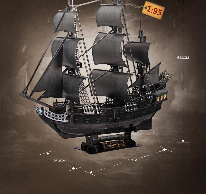 3D DIY paper mannequin kits toy little one puzzle toys the Queen Anne's revenge Black Pearl Pirates of Caribbean academic toy