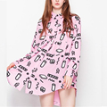 Women LAZY OAF Style Harajuku Cute Kawaii Pink Milk Cup Graffiti Graphic Print Long Sleeve Top Shirt Mini Dress Chiffon Blouse