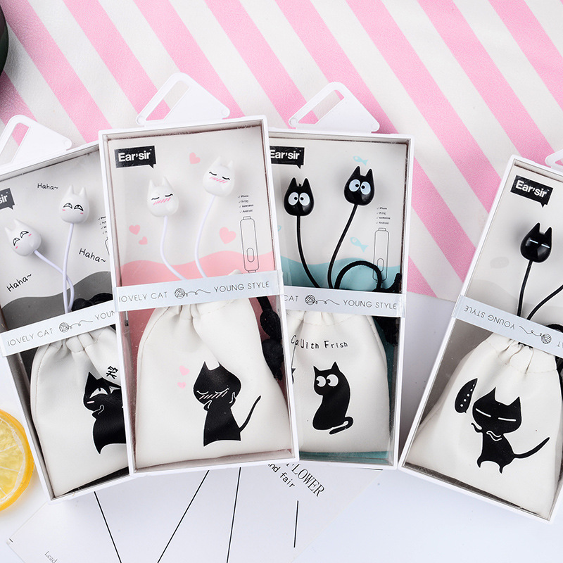 Cute Cat Cartoon 3.5mm in-ear Stereo Earphones with Mic Earphone Case Bag for iPhone Xiaomi Girls Kids Student for MP3 Gifts cute cartoon cat claw style in ear earphones for mp3 mp4 more blue white 3 5mm plug