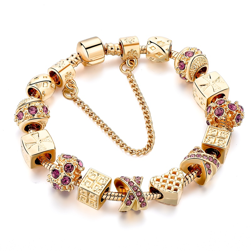 Mode lilla Crystal Key Charm armbånd til kvinder guld europæiske - Mode smykker - Foto 6