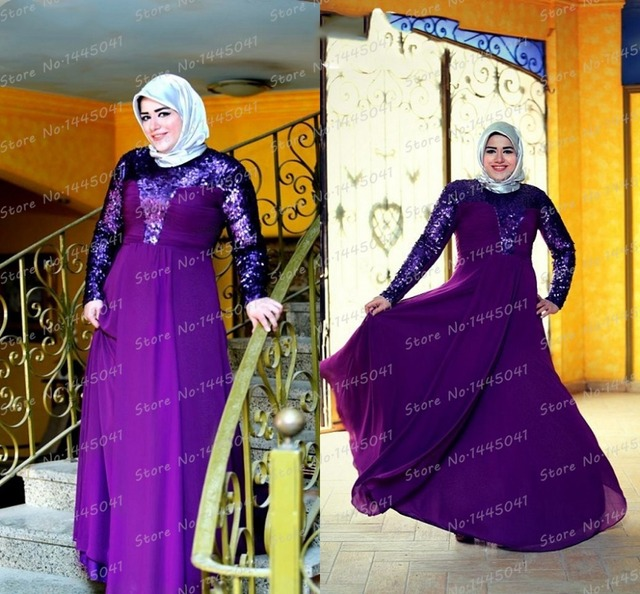 f089e385c6a6 islamic clothing for women Mother Of The Bride Dress Plus Size Purple  Chiffon Sequines Long Sleeve Kaftan Abaya robe de priere