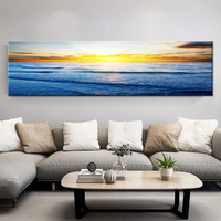Wall Art Pictures HD Prints Canvas Waves On Beach At Sunset Paintings Seascape Posters Living Room Home Decor Framework