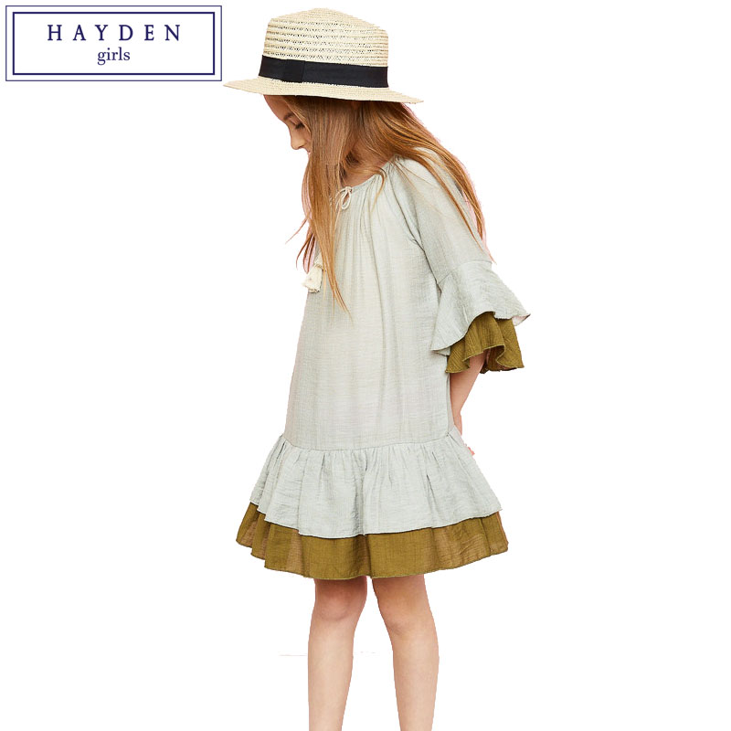 HAYDEN Girls Drop Waist Dress Teens Ruffle Tiered Dress Tassel Tie Three Quarter Sleeve Princes Dress Girl Kids 2017 Summer New