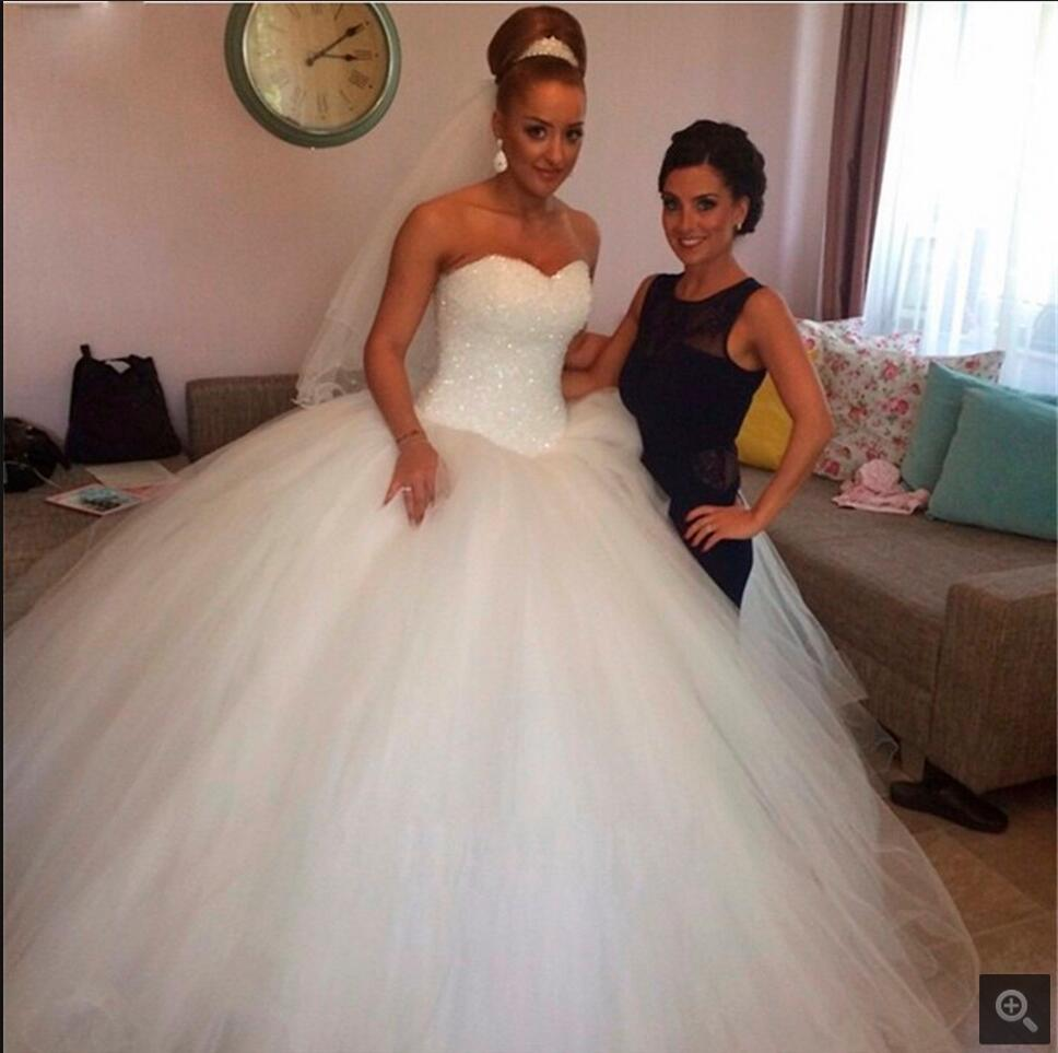 2016 Ball Gown Heavily Beading Princess Wedding Dress Puffy Strapless Sweetheart Neck Long Wedding Gowns Best Selling