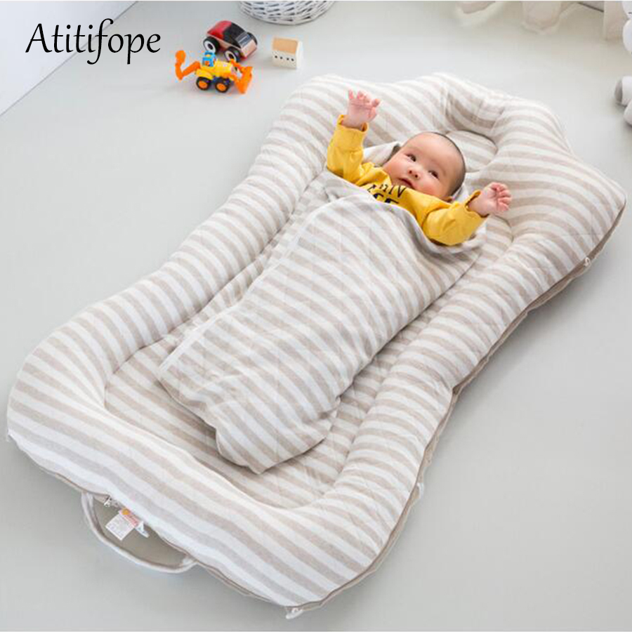 100*120cm Baby Cotton Foldable Bed Removable Crib Portable  Bionic Folding Bed Movable Cleaning Baby Bed