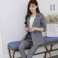 2018 Two Pieces OL Set Notched One Button Jacket And Long Pant Suits Women Business Jackets