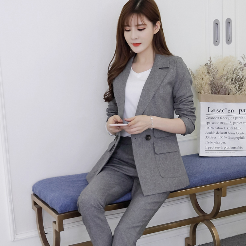 2018 Two Pieces OL Set Notched One Button Jacket and Long Pant Suits Women Business Jackets and Blazers Casual Outfits feminino