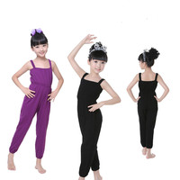 Popular Girls Kids Ballet Jogging Yoga Suit Leotard Black Purple Casual Jumpsuit Lycra Gymnastics Suspenders Trousers