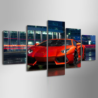5 Pieces Canvas Wall Art Picture Living Room Drop Shipping Customize Photo Printed Red Luxury Sports Car Oil Painting Home Decor
