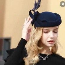 Леди фетровых шерсть шляпа для девочек; Новинка дизайнерские оригинальные английской шерсти Кепки Элегантная шляпка с перьями весь британский стиль американская шляпа A-151