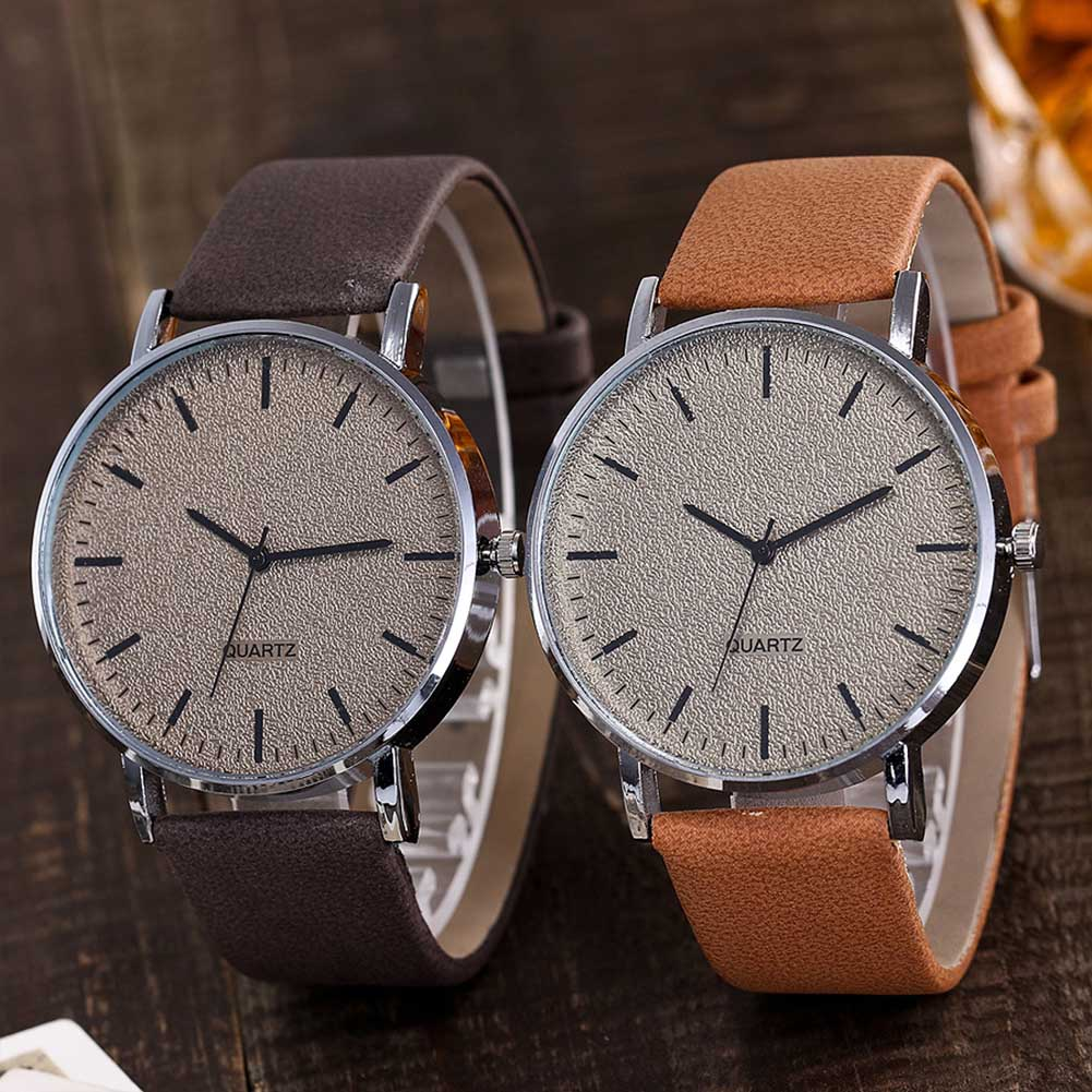 Hot Sale VANSVAR Unisex Men Women Matte Dial Wristwatch Leather Band Quartz Wrist Watch  CXZ(China)