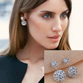 New Luxury Brass/Zircon Embellished  Tribal double ball  Earrings