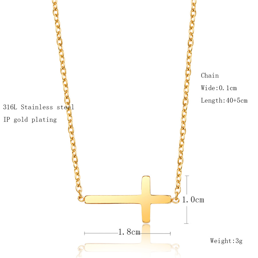 2019 Summer Fashion Creative Cross Shape Christian Pendant Chain Necklace for Women Europe Brand Low Price Jewelry in Pendant Necklaces from Jewelry Accessories