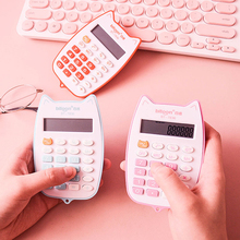 Portable Calculator Cute Cat Handheld Calculator for Students, Battery Power Electronic Calculator with 12-digit LED Display ti 30x iis scientific calculator 10 digit lcd