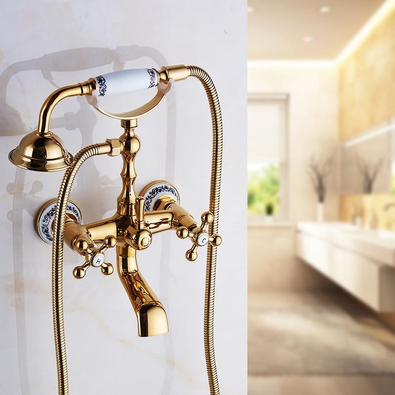 Home Improvement Hard-Working Bathtub Faucets Brass Luxury Chrome Silver Shower Faucet Set Ceramic Handle Handheld Rain Shower Head Faucet Mixer Tap Hs-g022