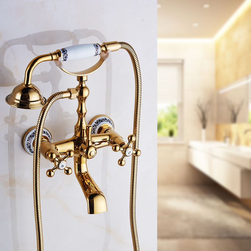 Bathtub Faucets Brass Luxury Gold Bathroom Shower Faucet Set Rainfall Single Handle Shower System Wall Mounted Mixer Tap HS-G020 luxury bathroom brass ceramic antique shower faucet set single handle wall mount exposed rainfall shower mixer tap