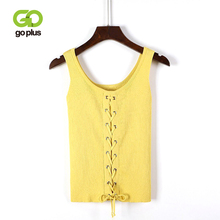 GOPLUS Sexy Front Lace up Bow Knitted Tank Top Women Soft Cotton V-Neck Elastic Basic Vest 2019 Summer Casual Slim Camis Female lace up front sweetheart neck plaid bandeau top