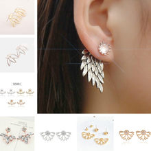 LOLEDE Angel Wings 2018 Luxury Drop Dangle Earrings For Women Round With Cubic Zircon Charm Flower Earring Women Jewelry Gift(China)