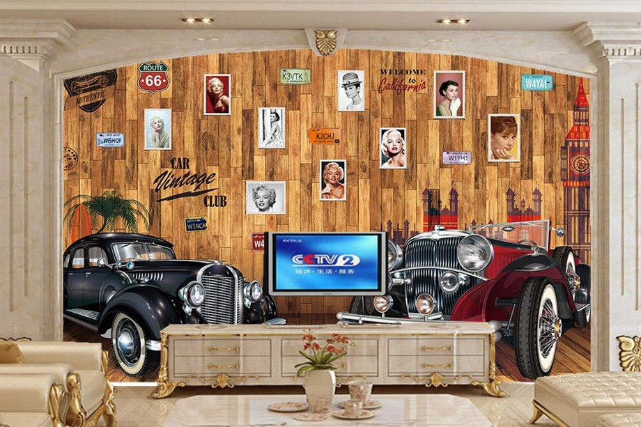 Custom mural,Europe plank wood wall vintage car photos wallpaper,restaurant bar living room tv sofa wall bedroom papel de parede free shipping hepburn classic black and white photos wallpaper old photos tv background wall mural wallpaper