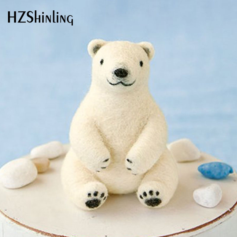 2019 Korean Craft Handmade White Bear Toy Doll Wool Felt Poked Kitting DIY Cute Animal Wool Felting Non-Finished
