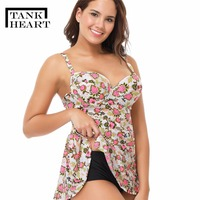 Tank Hear Retro Two Piece Swimsuit Tank Top Kids Bikini Swimwear Women Tankini Plus Size Badpak