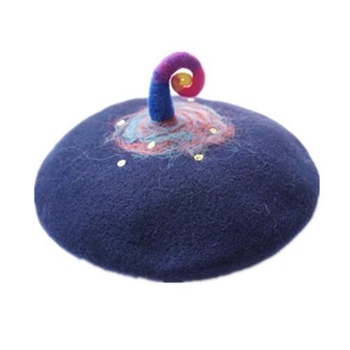 Зима Теплая Женщины Готическая Лолита 100% Шерсть Единорога Берет Hat Unique Painter Cap Ручной