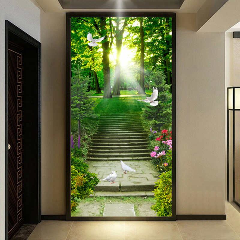 HD Green Forest Sunshine Stairs Pastoral 3D Wallpaper Living Room Entrance Hotel Lobby Nature Mural Non-Woven Papel De Parede 3D