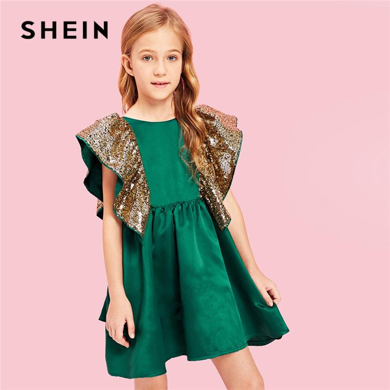 SHEIN Kiddie Ruffle Contrast Sequin Elegant Flare Teenage Girl Party Short Dress 2019 Summer A Line Vintage Little Girls Dresses trendy boat neck cap sleeve floral print a line zipper women dress