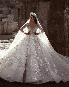 Image 3 - Amanda Design Dubai Royal Long Sleeve Lace Applique Crystal Flowers Wedding Dress Luxury