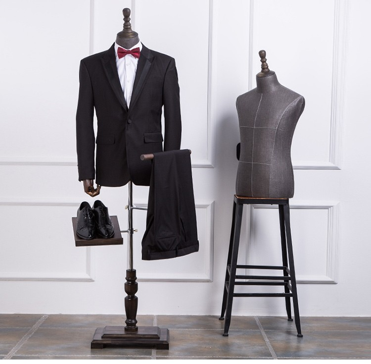 High quality half body mannequin cloth mannequin male suit table display mannequin with solid wood arms and shoes pants racks