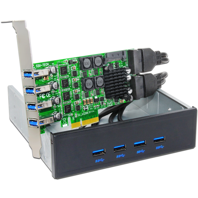 BTBcoin Add On Cards PCIE USB 3.0 Card PCI-E/PCI Express USB 3.0 Controller with 5.25 USB 3.0 Front Panel PC Computer Components
