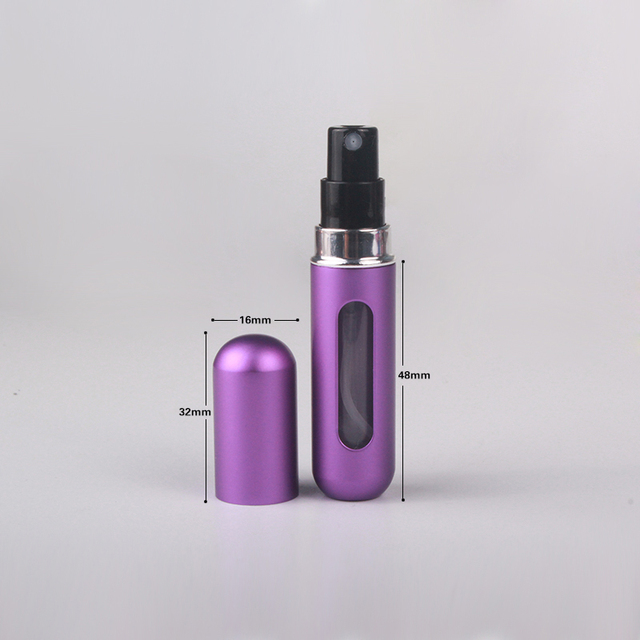 MUBTF - 5ml Refillable Mini Perfume Spray Bottle Aluminum Spray Atomizer Portable Travel Cosmetic Container Perfume Bottle 5