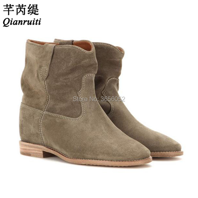 as Schoenen Bootie Moto Bout Femme Augmentant Court Chaussures Hauteur Pic Vintage As Qianruiti Pointu Dames Pic Caché Bottines Compensées Hz4q5AT