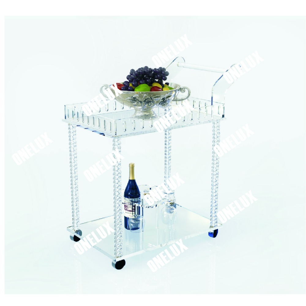 acrylic lucite bar serving cart / hotel trolley with wine rack, two shelves gold hotel wine