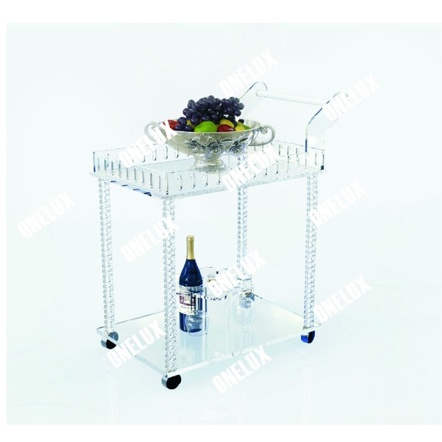 acrylic lucite bar serving cart / hotel trolley with wine rack, two shelves