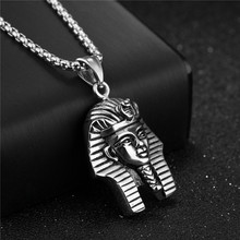 ZORCVENS Ancient Egypt Charm Necklace Pharaoh King Gold Color Stainless Steel Necklaces & Pendants Vintage Jewelry For Men/Women