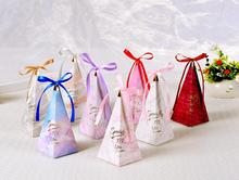 Creative Gift Box Flower Style Triangular Pyramid Candy Boxes Wedding Favors Bomboniera Party Supplies