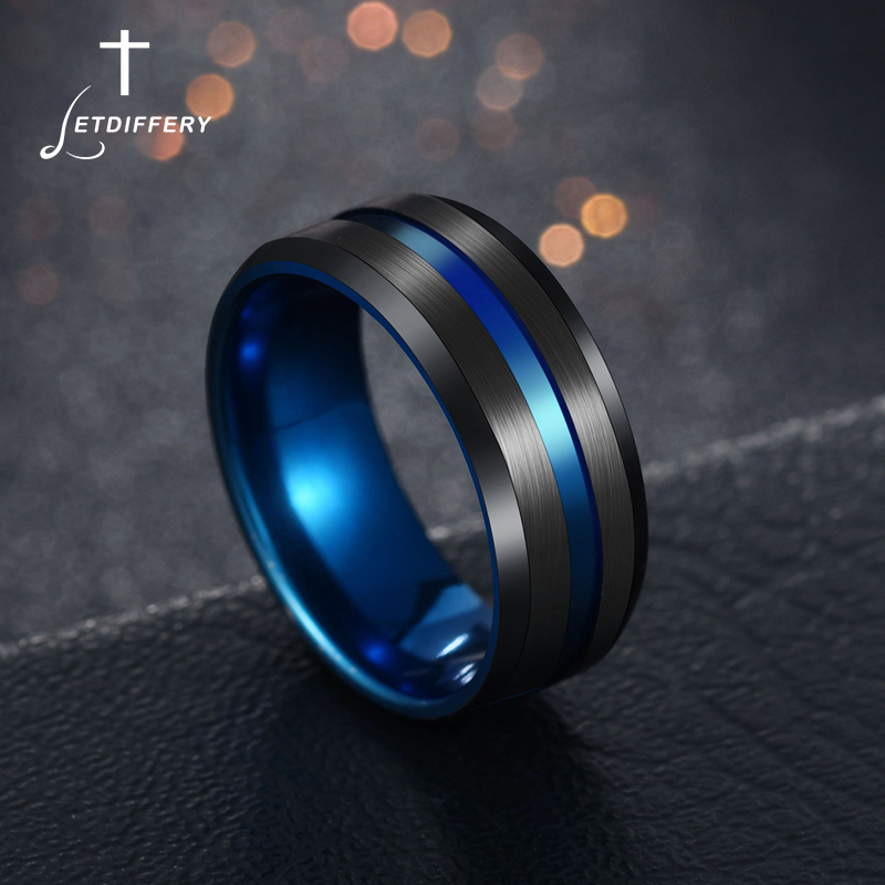 Letdiffery Hot Sale Groove Rings Black Blu Stainless Steel Midi Rings For Men Charm Male