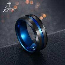 Letdiffery gran oferta anillos con surcos Negro Azul acero inoxidable Midi anillos para hombres encanto joyería masculina Dropshipping