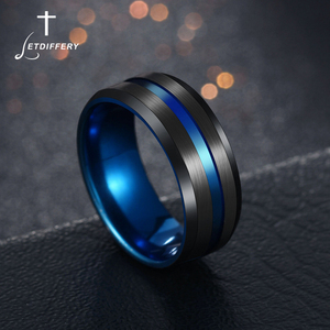 Letdiffery Hot Sale Groove Rings Black Blu Stainless Steel Midi Rings For Men Charm Male Jewelry Dropshipping(China)