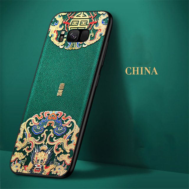 Embossed Leather Back Cover For Samsung Galaxy S10 S9 S8 Plus Case Special China Style Phone Cases For Samsung s10 plus Aixuan