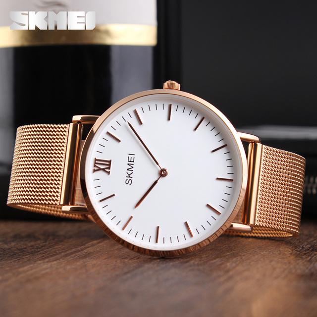 Ultra Thin Watches Men Quartz Stainless Steel Men's Watches SKMEI Brand Clock Man Waterproof Fashion Casual Wristwatches