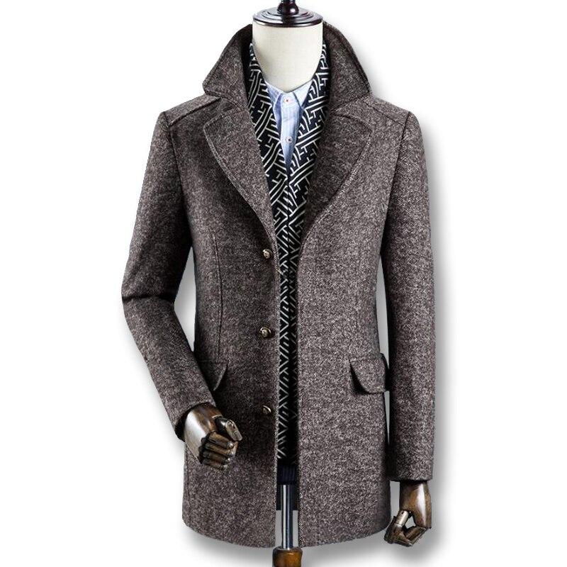 2019 mężczyźni zima jesień grube płaszcze z wełny parki mody męskiej na co dzień Slim Fit duży rozmiar biznes sukienka płaszcze mieszanki mężczyźni w Wełna i mieszanki od Odzież męska na  Grupa 1