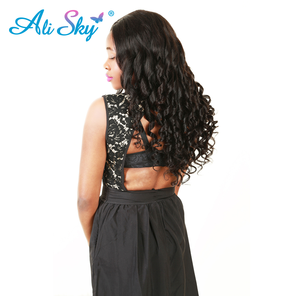 Ali Sky Hair Loose Wave Peruvian Remy Hair Weave Bundles 100% Human Hair 1 Piece Only 8-26 inch Free Shipping can be curled