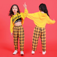 Желтые толстовки в стиле хип-хоп для мальчиков и девочек Одежда для танцев для детей, костюмы для джазовых танцев, футболка Топы для бальных танцев, клетчатые штаны для бега