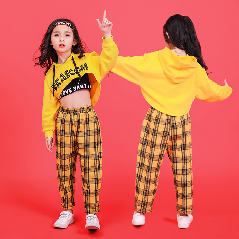 Yellow Girls Boys Hip Hop Hoodies Dance Clothes For Kids Jazz Dancing Costumes T Shirt Ballroom Crop Tops Plaid Jogger Pants
