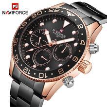 NAVIFORCE גברים שעון קוורץ אנלוגי יוקרה אופנה ספורט 30 m עמיד למים שעוני יד פלדת זכר שעון שעון Relogio Masculino שחור